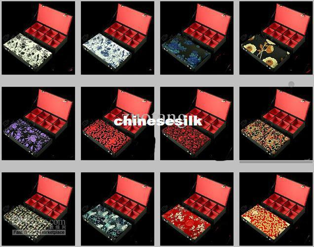 Luxury 8 grid Jewelry Presentation Boxes Silk Print Trinket Boxes High Quality Watch Collection Boxes Bangle Boxes 1pcs mix color Free
