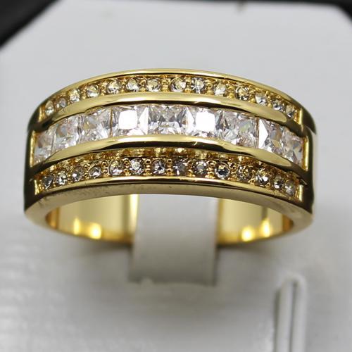 TAMAÑO 8/9/10/11/12 EXCLUSIVO White Sapphire Gemstone 10KT Anillo Gold Yellow Filled El mejor regalo