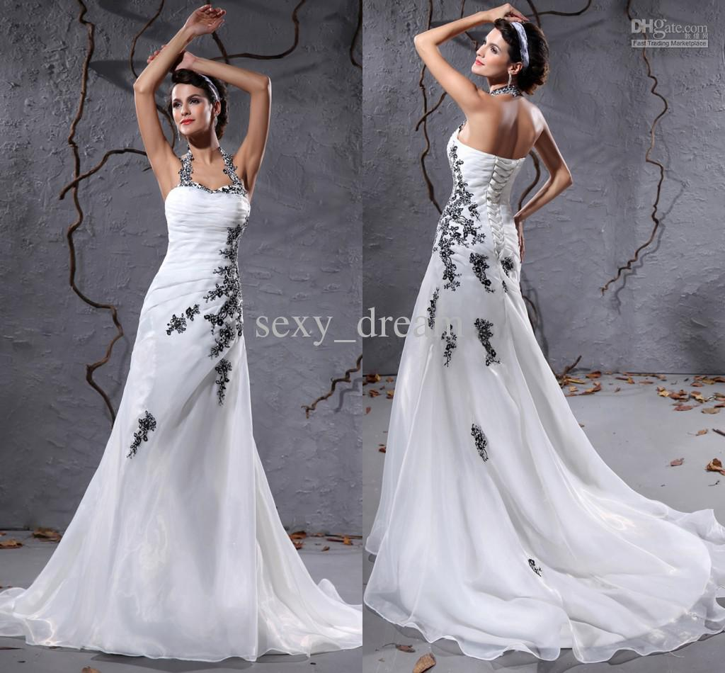 Fashion White With Black Halter Wedding Dress Organza Chapel Train ...