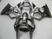 ingrosso corredo kit per kawasaki zzr-Fiamme nere kit carene in plastica ABS argento per Kawasaki 2005 2006 2007 2008 ZZR600 ZZR 600 05 07 08 kit carena completo Y7