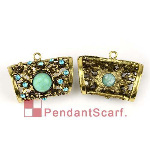 / Top popolari gioielli collana pendente sciarpa bronzo antico lega diapositive tubo tubo con fascino strass, trasporto libero, AC0180B