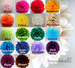 Wholesale Colorful Tissue Paper Flower Ball - Lot 10PCS 13cm Colorful tissue paper flower ball Tissue Paper Pom Poms wedding party decoration Free Shipping