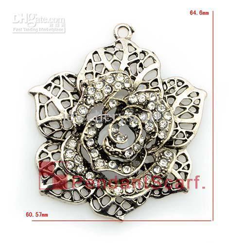 / Top Mode DIY Bijoux Collier Écharpe Accessoires En Alliage de Zinc Strass Fleur Pendentif Charme, Livraison Gratuite, AC0179