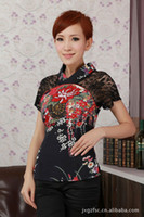 Wholesale Tang Blouses - Black lace short-sleeve cheongsam chinese style national trend plus size tang suit blouse A0049