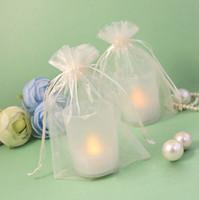 ingrosso avorio avorio regalo organza-17 colori Pick - 100pcs Avorio 10 * 15cm Puro Organza Borsa Bomboniera Forniture regalo / Candy Bag