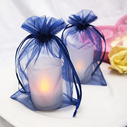 """Wholesale Navy Blue Wedding Jewelry - 16 colors Pick--100 pcs Navy Blue Sheer Organza Pouch 6"""" (15cm) H x 4"""" (10cm) W Wedding Favor Jewelry Gift Bags Candy Boxes"""