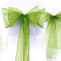 "Wholesale Sage Wedding Chair Sashes - Wholesale--25pcs Sage Green 8"" (20cm) W x 108"" (275cm) L Sheer Organza Sashes Wedding Party Banquet Chair Organza Sash Bow"