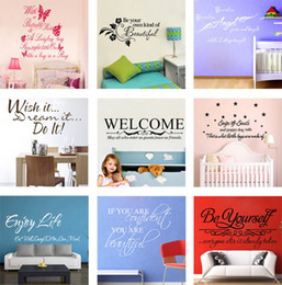 Wholesale Vinyl Wall Art Sayings - Mix Order Wall Quote Decals Vinyl Wall Art Stickers Room Wall Decor Kids Wall Stickers Words Saying Stickers