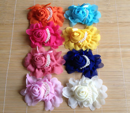 """Wholesale Diy Hair Accessories Beads - Baby Girls Hair Accessories DIY 5"""" x 4"""" chiffon rose Flower With Pearl Beads kids head wear 8colors 20pcs lot drop shipping"""