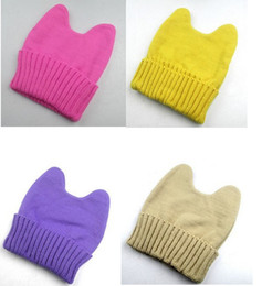 Wholesale Cat Top Hat - winter adult llittle demon knitted hat women's hat cat ears multiple colors free shipping