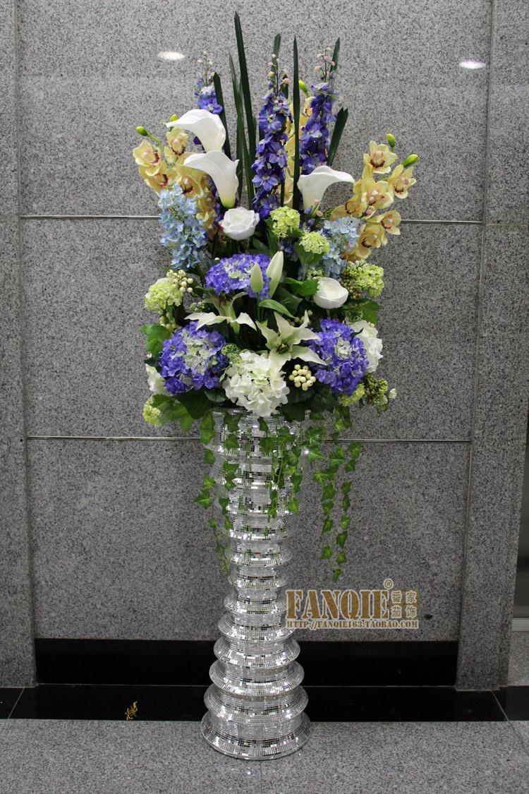 fashion set glass large floor vase set flower modern
