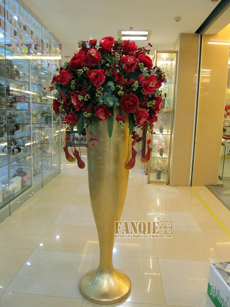 Large Floor Vase Fashion Set Modern Fashion Decoration Set Flowers Artificial Flower Soft Small