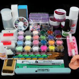 Wholesale Acrylic Powder Nail Tips - Free Shipping Full 25 Nail Art Acrylic Powder Primer Glitte Liquid TIP Brush Glue Dust KITS UY Super Acrylic Systems Set