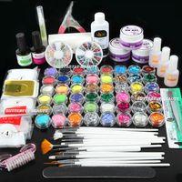 Wholesale Super Glitter Nail Art Tip - Free Shipping Nail Art UV Gel Primer Glitter Powder Striping Top Coat Tips Brush Glue KITS UI Super Nail Art UV Gel Set
