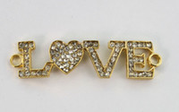 4PCS Clear Pave Rhinestone Golden Heart LOVE Link Подвески # 22849