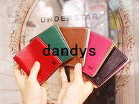 Wholesale Korean Couple Wallet - Free Shipping New 5 color pu leather short Couples wallet card pocket pounch wallet card bag Korean wholesale