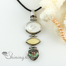Olive Pendant NZ - oval olive teardrop rainbow abalone pink oyster yellow oyster white oyster shell pendants for necklaces Hand made jewelry