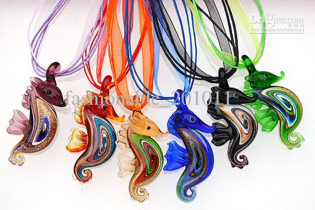 Wholesale sea horse pendants necklaces multi color lampwork murano wholesale sea horse pendants necklaces multi color lampwork murano glass with silk cord new nl16 round pendant necklace gold pendants for necklaces from aloadofball Image collections