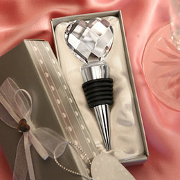 Wholesale Heart Crystal Wine Stoppers - 10 piece lot wedding party gift Crystal Ball Heart wine stoppers Wedding favors wine Bottle Stoppers Xmas gift