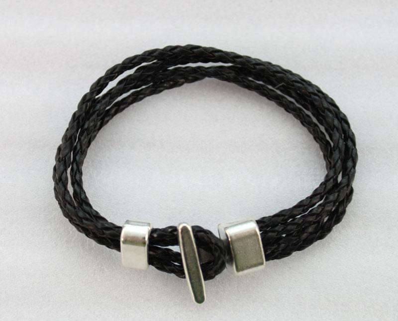 bracelets en cuir multicouche avec fermoir à crochet en cuir noir # 23040