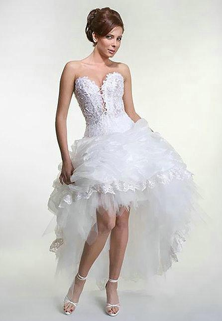 Short Front Long Back Beach Wedding Dresses 2013 Ball Gown Sweetheart Lace Tiered Tulle Ankle Length