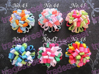Wholesale Puff Flower Clip - free shipping 150pcs loopy puff Flower loopy hair bows girls baby hair bows ponytial holder hari clip