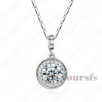 Wholesale Big Round Diamond Necklace - Yousfs Luxury Big Round Shape Design Emulational Diamond 18 K White Gold Crystal Circle Mothers Classic Necklace for Women Gorgeous Jewelry