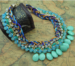 Wholesale Gold Weave Necklace - Statement Necklaces Handmade Woven Resin Droplets Tassel Cealr Rhinestone Leather Tie Collar Choker Necklace New Punk KC3