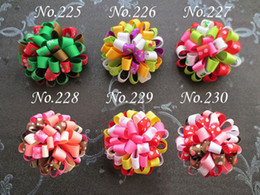 Wholesale Puff Flower Clip - free shipping 30pcs loopy puff Flower loopy hair bows girls baby hair bow ponytial holder hari clip