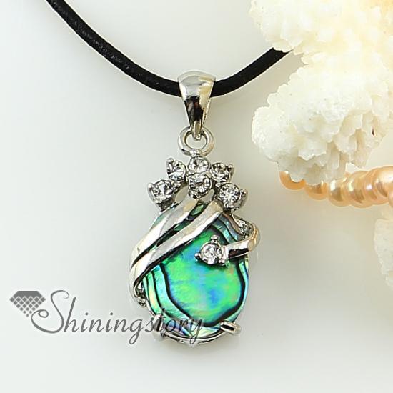 Oval lágrima rainbow abalone shell do mar strass mãe de pérola pingente de colar de jóias de moda