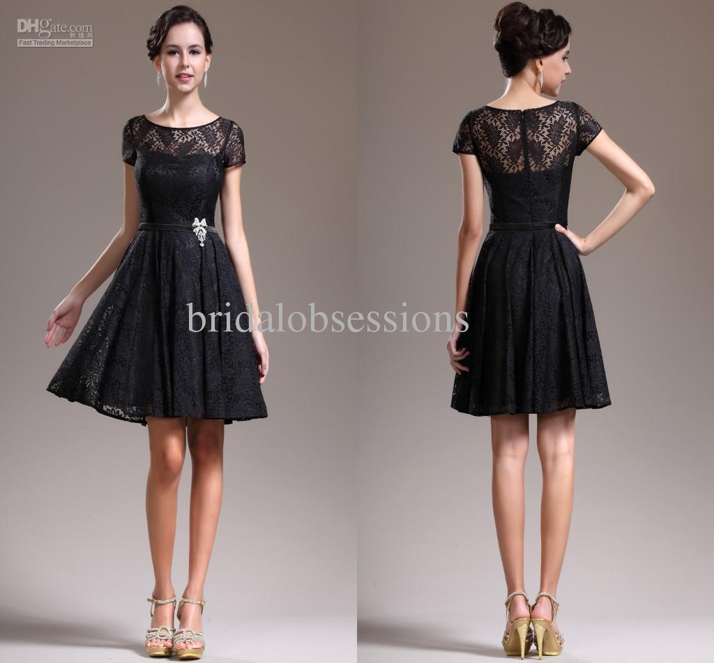 2013 New Lovely Cap Sleeves Overlace Litte Black Cocktail Dress