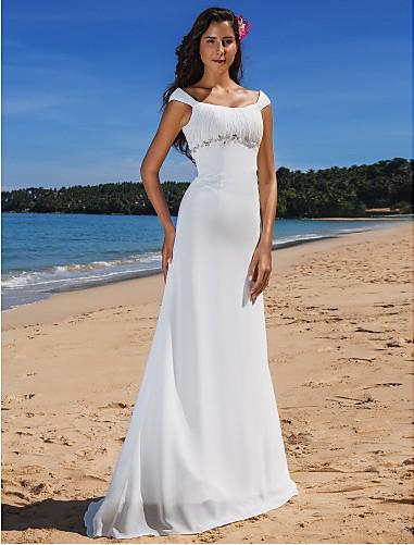 2015 Beach Wedding Dresses With Cap Sleeve Cheap Scoop Neckline