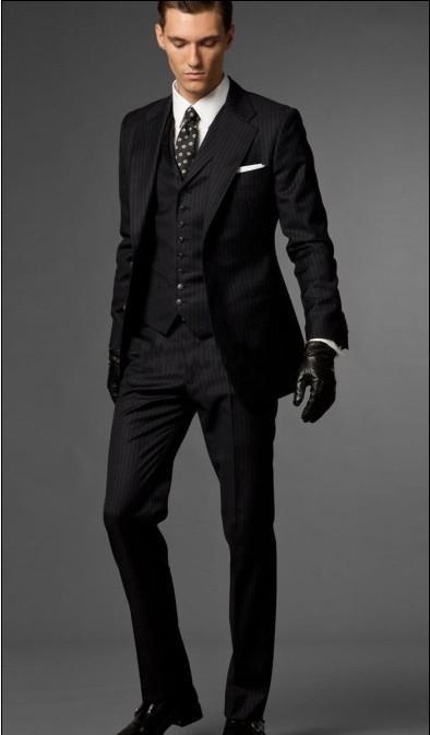 Slim Fit noir avec rayure smokings marié meilleur homme Notch Lapel Groomsmen Hommes Costumes de mariage Epoux veste + pantalon + cravate + Gilet H799