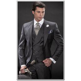 Wholesale Man Made Charcoal - Custom Made Morning Style Charcoal Groom Tuxedos Best Man Peak Lapel Groomsmen Men Wedding Suits Bridegroom (Jacket+Pants+Tie+Vest) H802