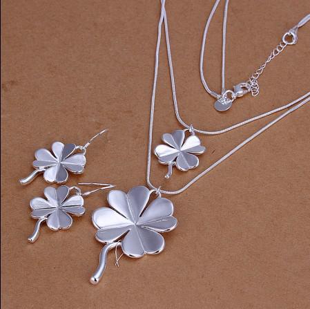 Gemengde bestelling Topkwaliteit 925 zilveren ketting oorbellen set mode-sieraden voor vrouwen gratis verzending /