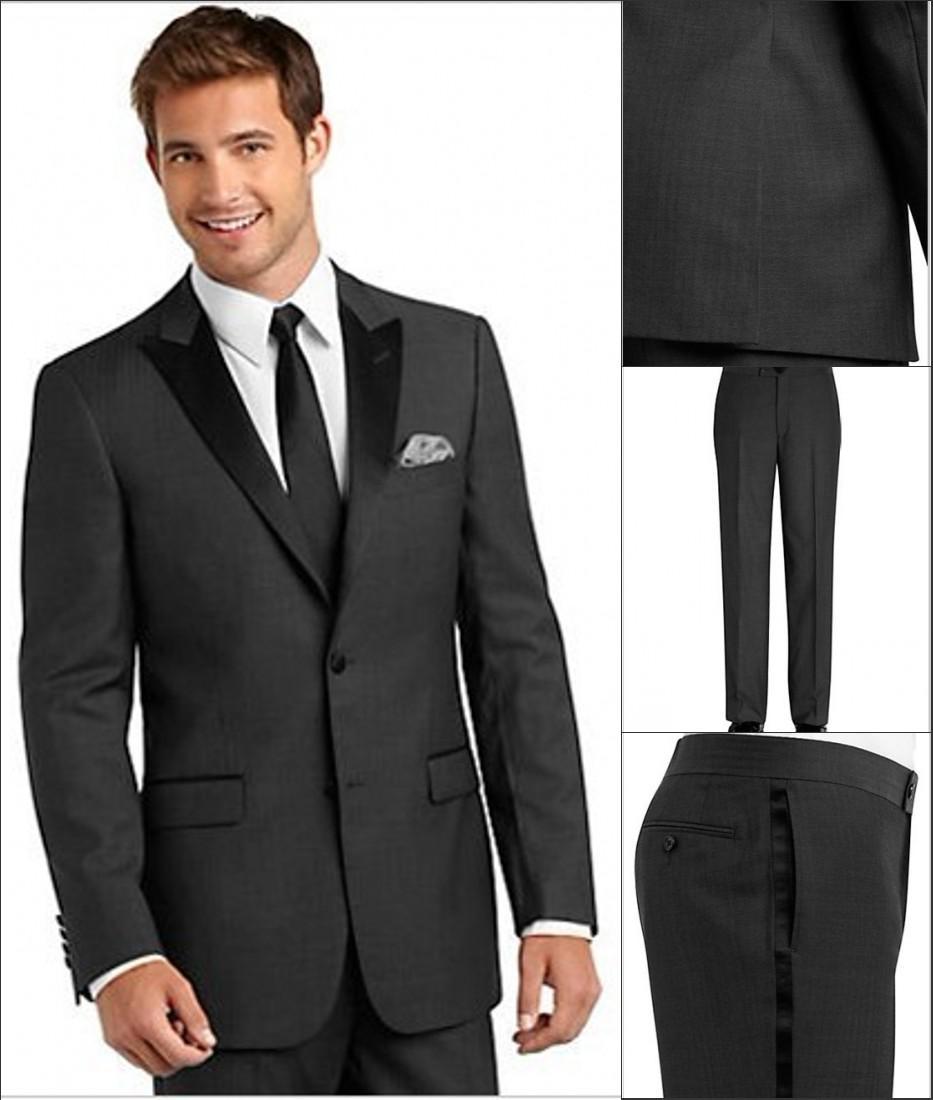 Trajes de boda por encargo del carbón de leña de ventilación laterales esmoquin novio mejor hombre pico solapa padrinos de hombres Novio Jacket + Pants + Tie + Girdle H806