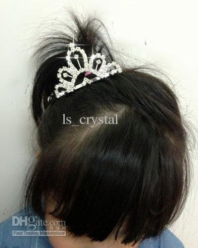 / svegli economici che lucidano gli accessori capelli FL13 delle ragazze di fiore di nozze della corona dei diamanti di DZ chiari