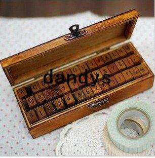 best selling Promotion! 42 pcs set Creative letters and numbers stamp gift box wooden stamp wooden box Free Shipping