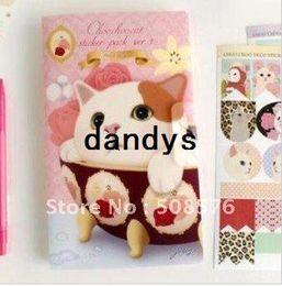 Argentina Papelería lindo gato Choo Sticker Pack Ver etiqueta Punto diario 8pcs / Set --- Diseño rosado 15Sets / Lot Suministro