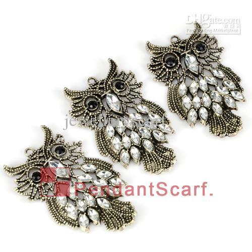 12 pz / lotto, top fashion gioielli fai da te collana sciarpa accessori in lega di zinco strass carino gufo pendente di fascino, trasporto libero, ac0170