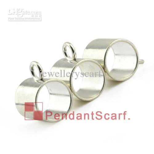 / Top Mode DIY Bijoux Collier Écharpe Pendentif Accessoires En Alliage de Zinc Shine Silver Slide Tube Bails, Livraison Gratuite, AC0168A
