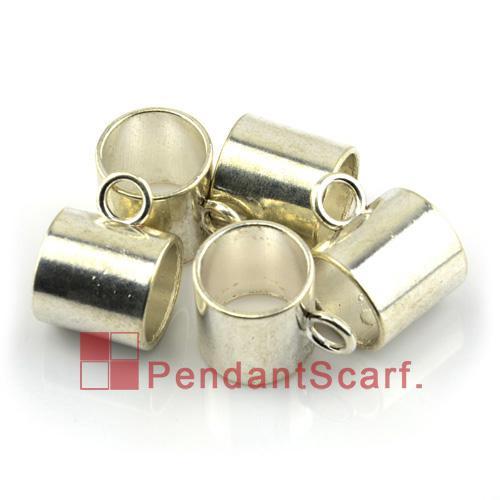 12 PCS / LOT, Top Mode DIY Bijoux Collier Écharpe Pendentif Accessoires En Alliage de Zinc Shine Silver Slide Tube Bails, Livraison Gratuite, AC0168A