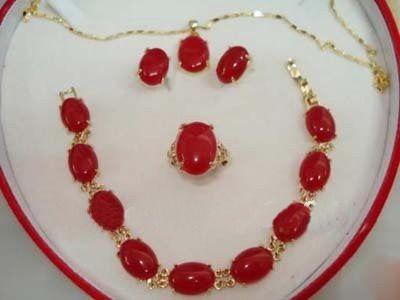 Collana con ciondolo in oro 18KGP orecchino rosso