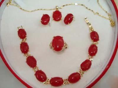 Red Jade 18KGP boucle d'oreille Bracelet collier pendentif collier ensemble de bijoux de mariée
