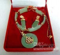 Wholesale light green jade pendant gold - green jade 18k gold filled link pendant bracelet earrings necklace jewelry set