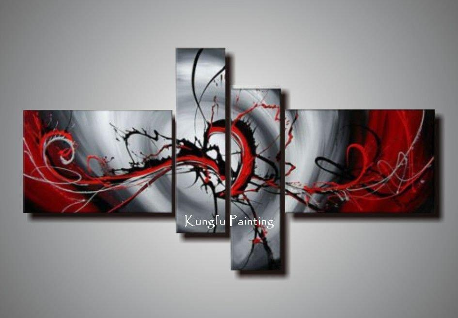 2020 100 Hand Painted Black White Red Canvas Art Group Oil