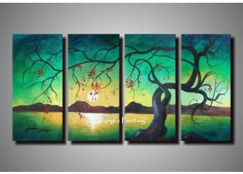 2019 100 Tree Oil Paintings On Canvas 4 Panel Wall Art