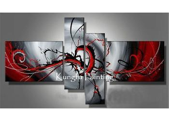 100% hand painted discount 4 panel wall art decoration abstract painting hanging on wall home decoration