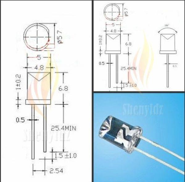 free shipping 100pcs 5mm Cylindrical Concave LED,Long flat top White LED,600-900mcd