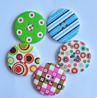 Wholesale Sewing Buttons Kids - Free shp!200pcs lot Vintage 40mm round random Multicolor Pattern natural wood Buttons,Pretty Kids cartoon DIY sewing scrapbook Cardmaking